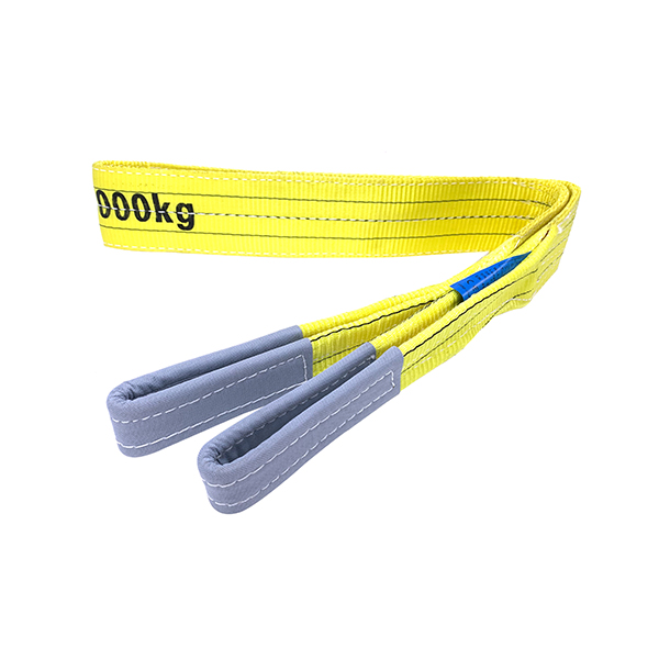 Yellow Polyester Duplex Flat Webbing Sling with Reinforced Lifting Eyes 3 Tonne