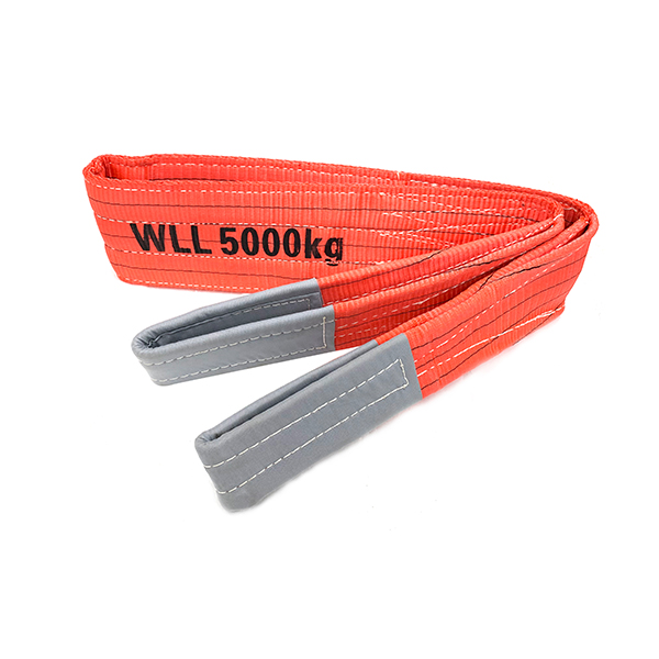 Red Polyester Duplex Flat Webbing Sling with Reinforced Lifting Eyes 5 Tonne